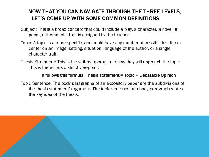 Now that you can navigate through the three levels, let's come up with Some common Definitions