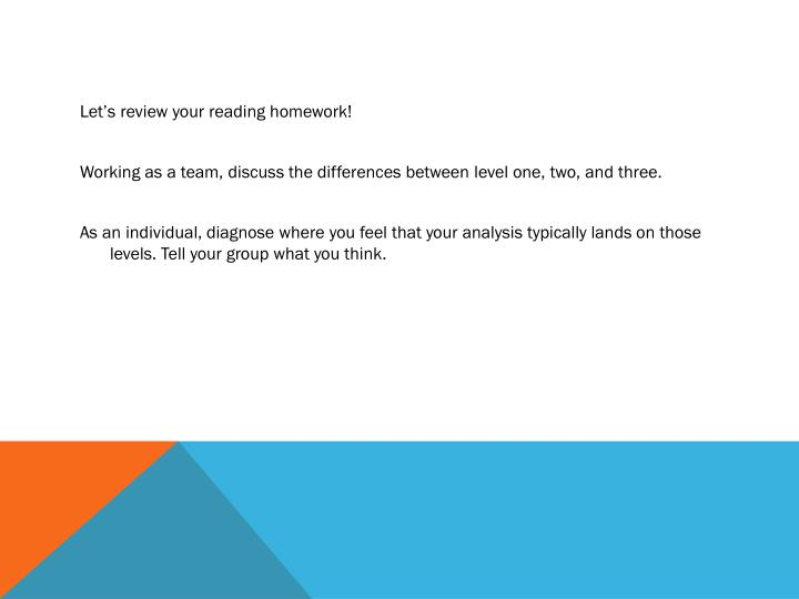 Let's review your reading homework!