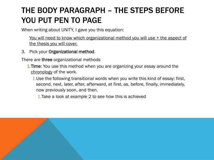 The Body Paragraph – The steps before you put pen to page