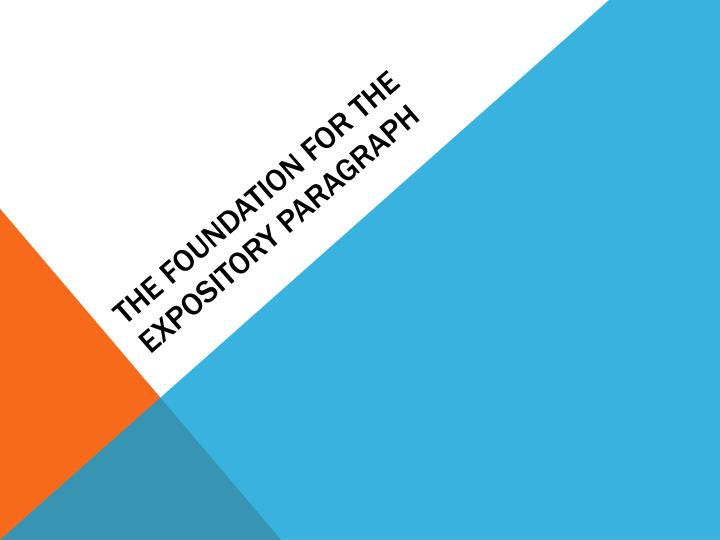 The Foundation for the Expository Paragraph