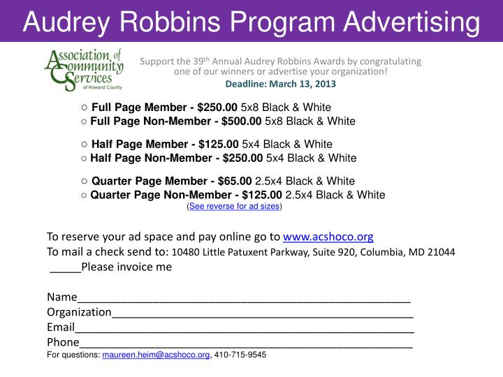 Audrey robbins program advertising