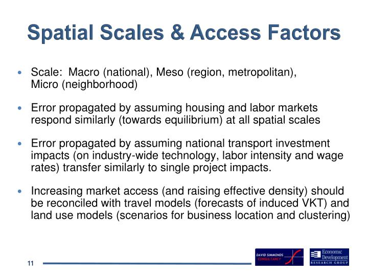 Spatial Scales & Access Factors