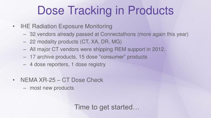 Dose Tracking in Products