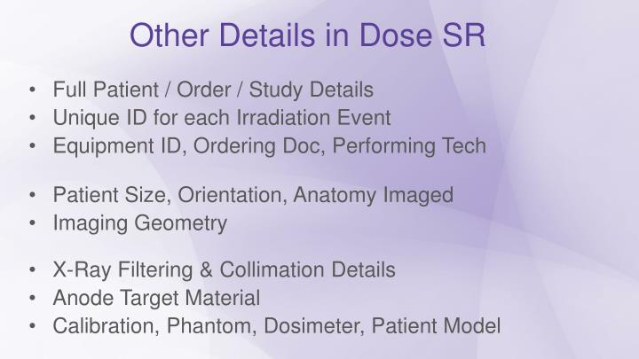 Other Details in Dose SR