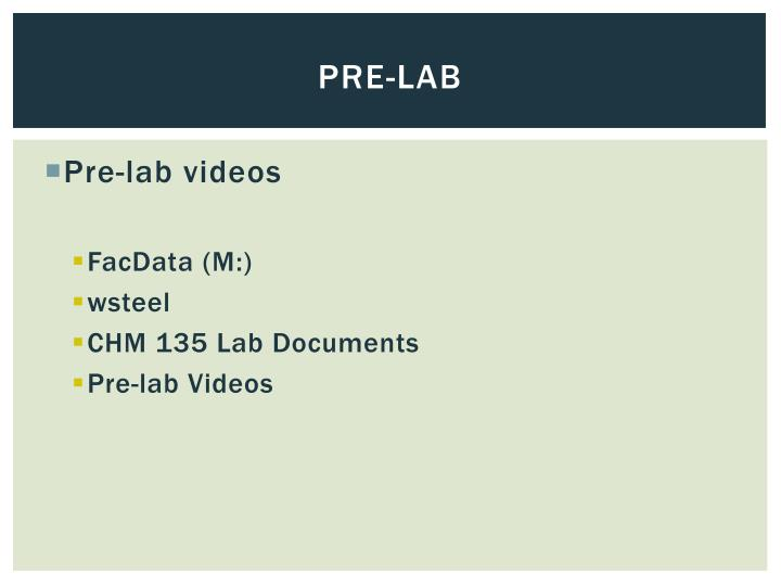 Pre-lab