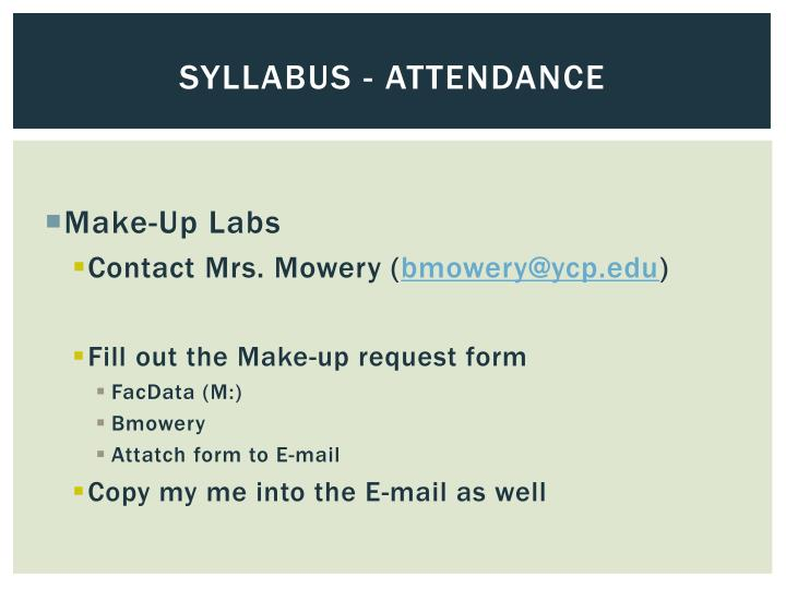 Syllabus - attendance