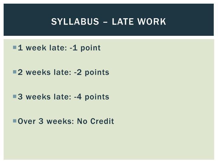 Syllabus – late work