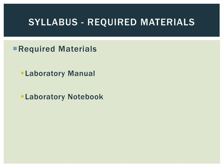 Syllabus - Required Materials