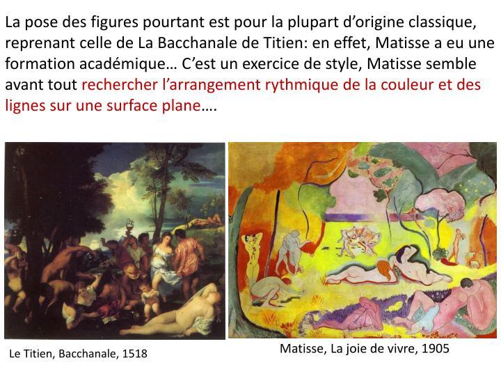La pose des figures pourtant est pour la plupart dorigine classique, reprenant celle de La Bacchanale de Titien: en effet, Matisse a eu une formation acadmique Cest un exercice de style, Matisse semble avant tout