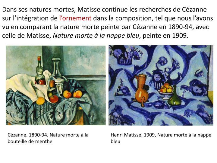 Dans ses natures mortes, Matisse continue les recherches de Czanne sur lintgration de