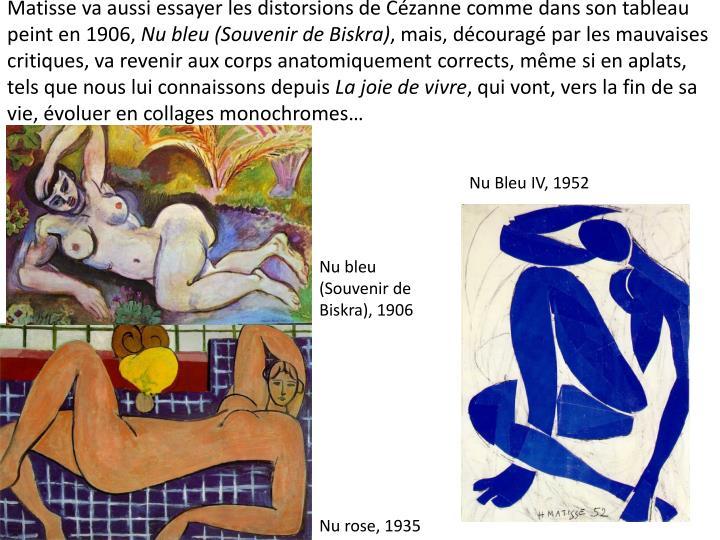 Matisse va aussi essayer les distorsions de Czanne comme dans son tableau peint en 1906,
