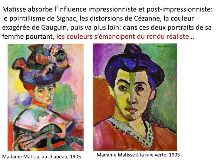 Matisse absorbe l'influence impressionniste et