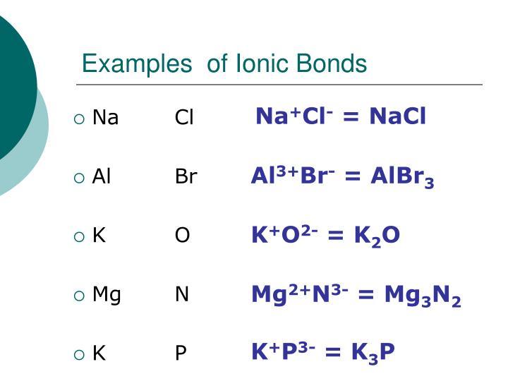 Examples  of Ionic Bonds