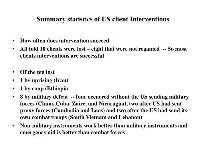 Summary statistics of US client Interventions