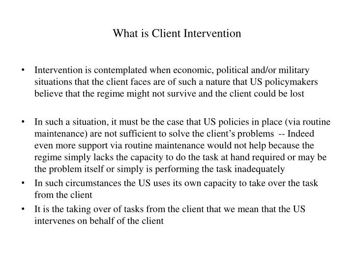What is Client Intervention
