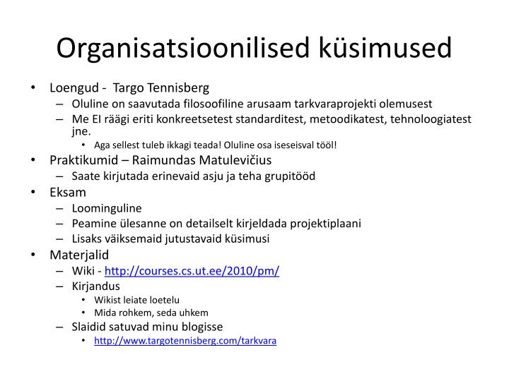 Organisatsioonilised küsimused