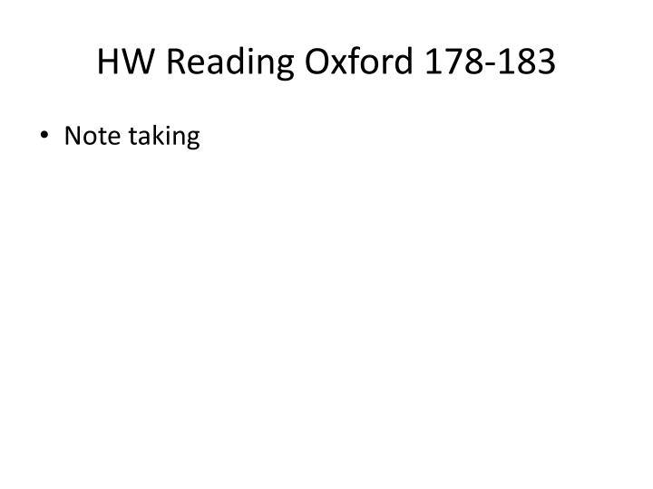 HW Reading Oxford 178-183