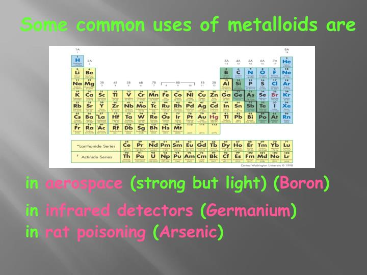 Some common uses of metalloids are