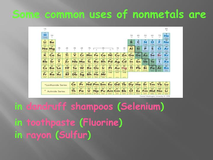 Some common uses of nonmetals are