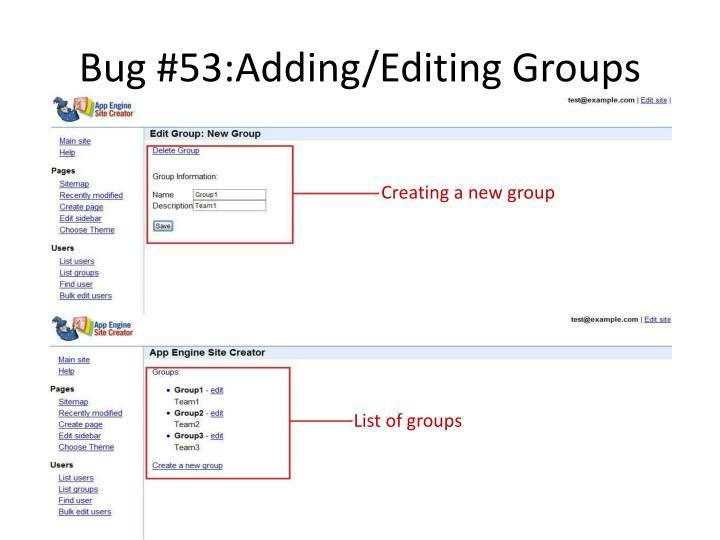 Bug #53:Adding/Editing Groups