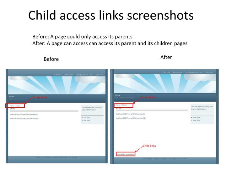 Child access links screenshots