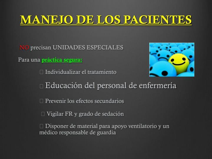 MANEJO DE LOS PACIENTES