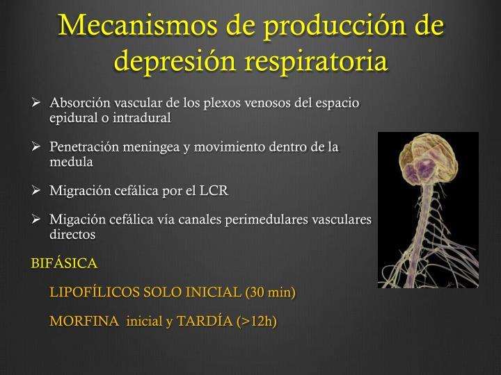 Mecanismos de producción de depresión respiratoria