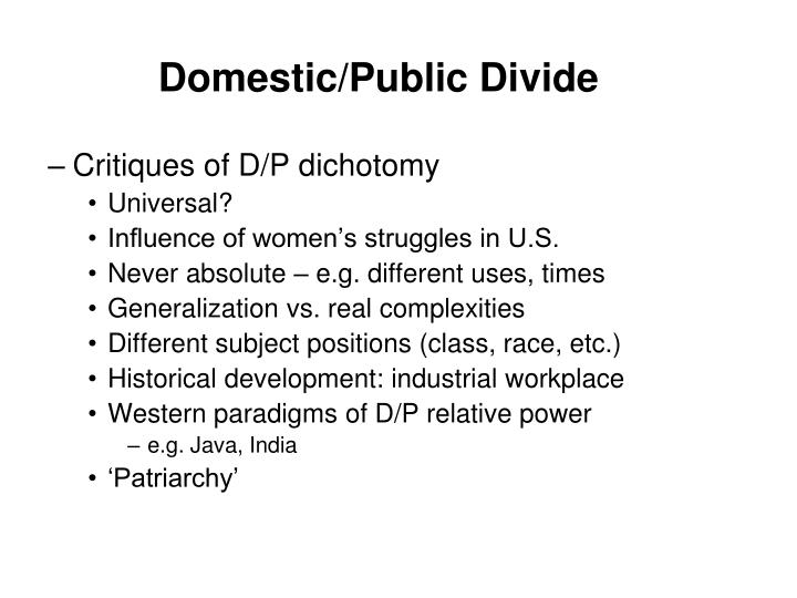 Domestic/Public Divide