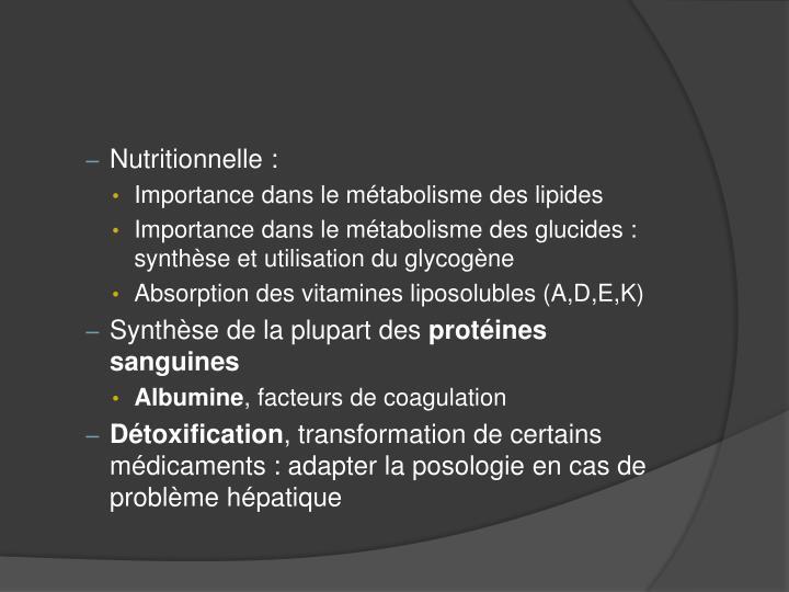Nutritionnelle :