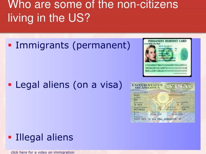 Who are some of the non-citizens living in the US?