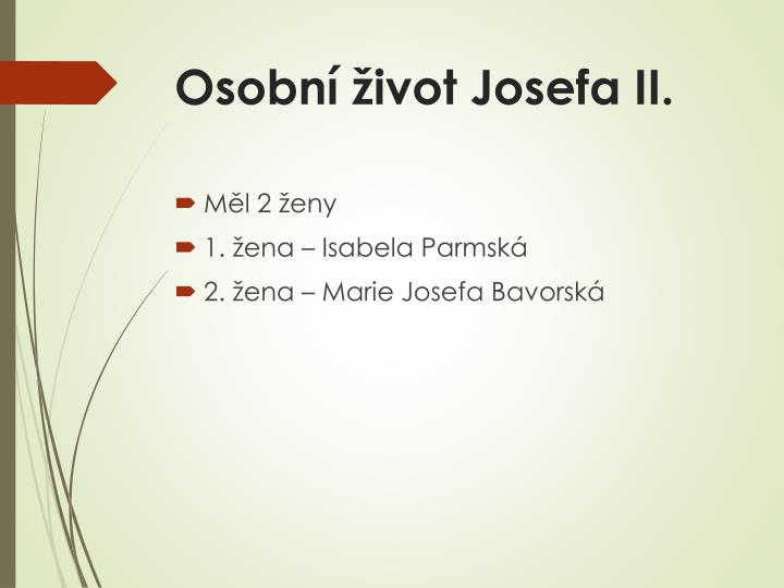 Osobní život Josefa II.