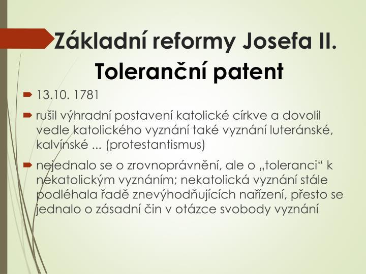 Základní reformy Josefa II.