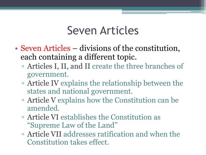 Seven Articles
