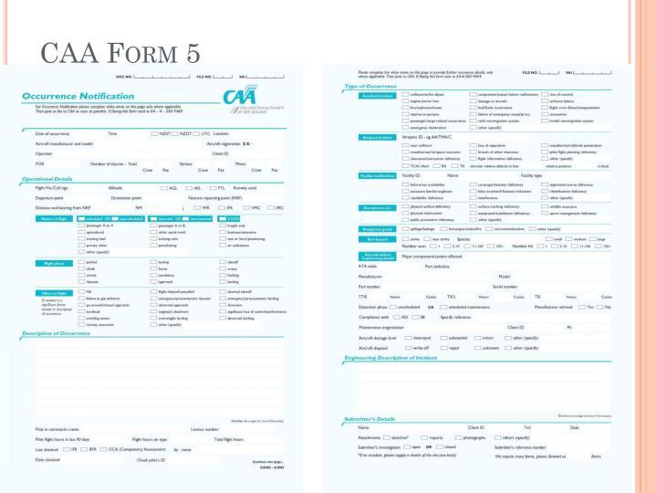 CAA Form 5