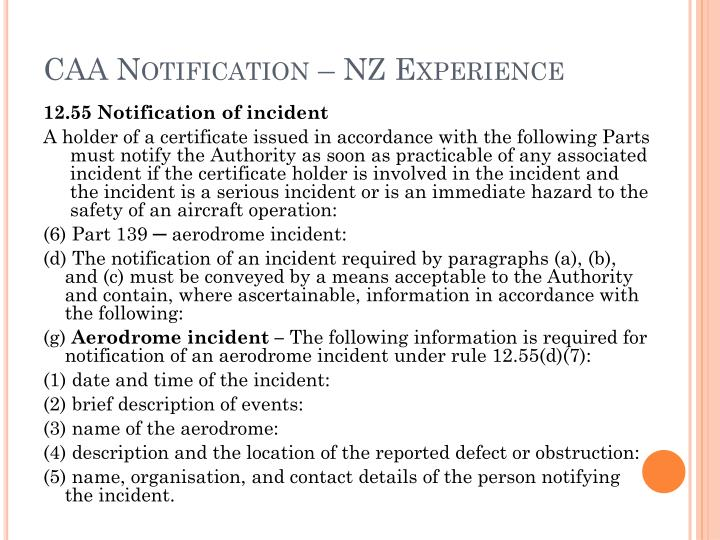 CAA Notification – NZ Experience