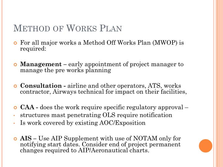 Method of Works Plan