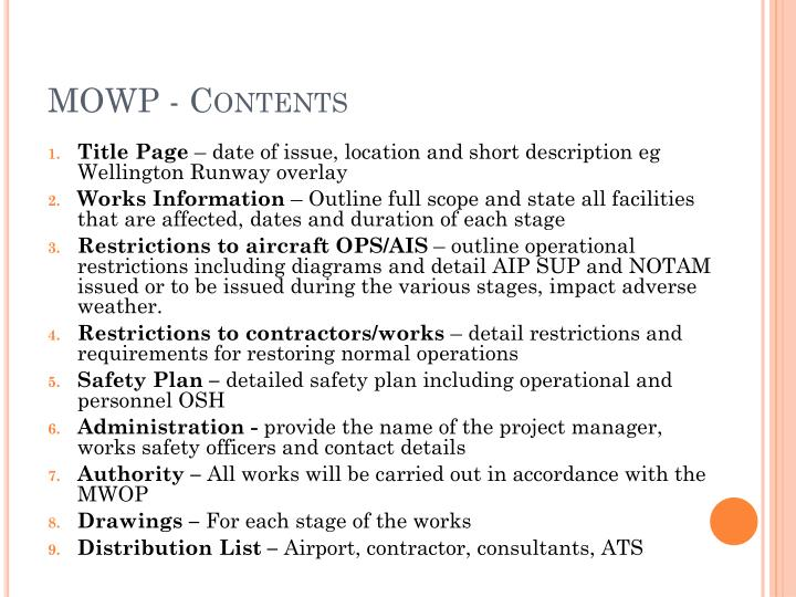 MOWP - Contents