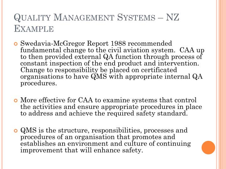 Quality Management Systems – NZ Example