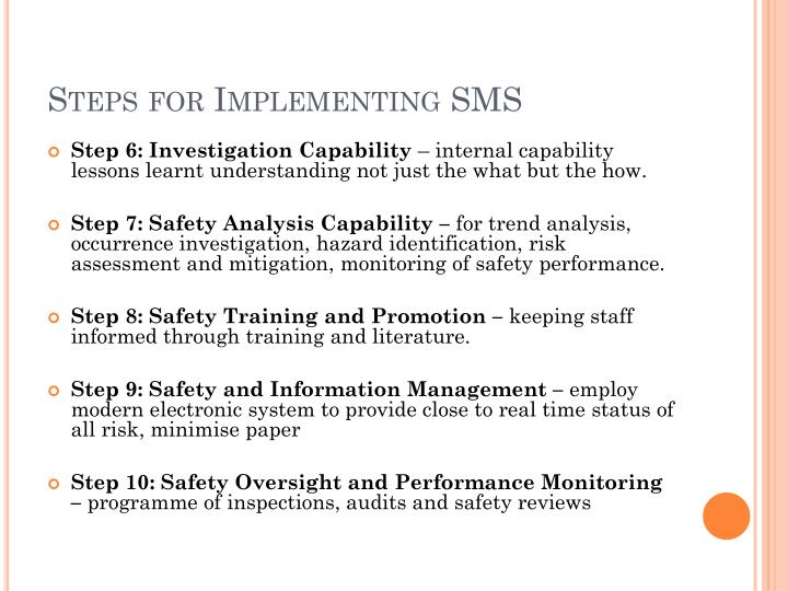 Steps for Implementing SMS