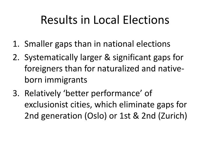 Results in Local Elections