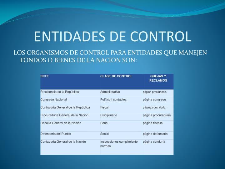 ENTIDADES DE CONTROL