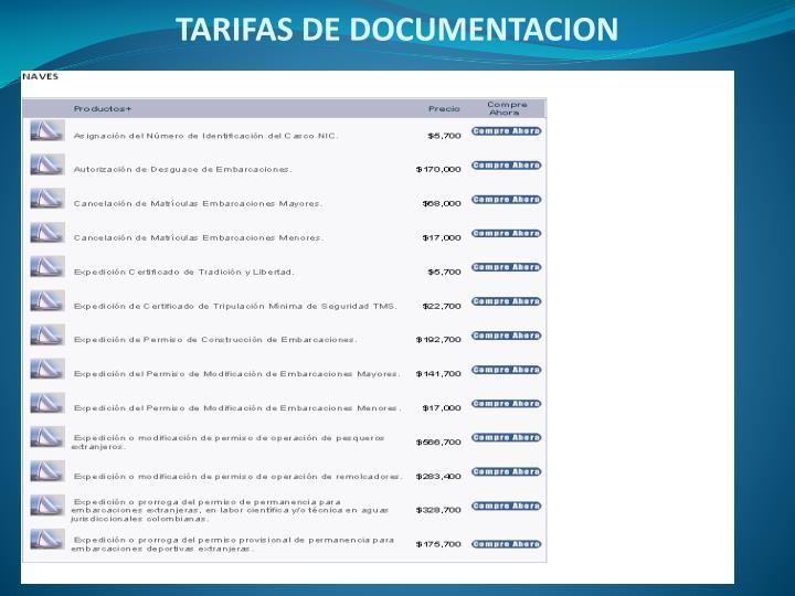 TARIFAS DE DOCUMENTACION