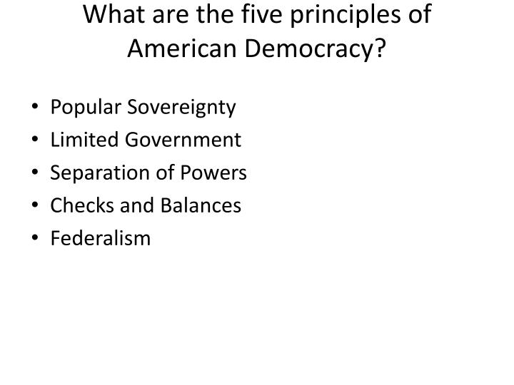 the five principles of goverment civics The five questions are: what are civic life, politics, and government  by the  constitution embody the purposes, values, and principles of american  democracy.