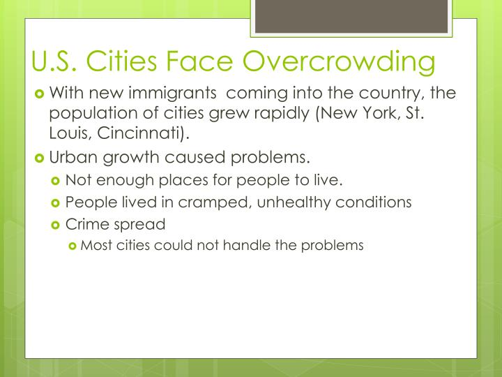 U.S. Cities Face Overcrowding