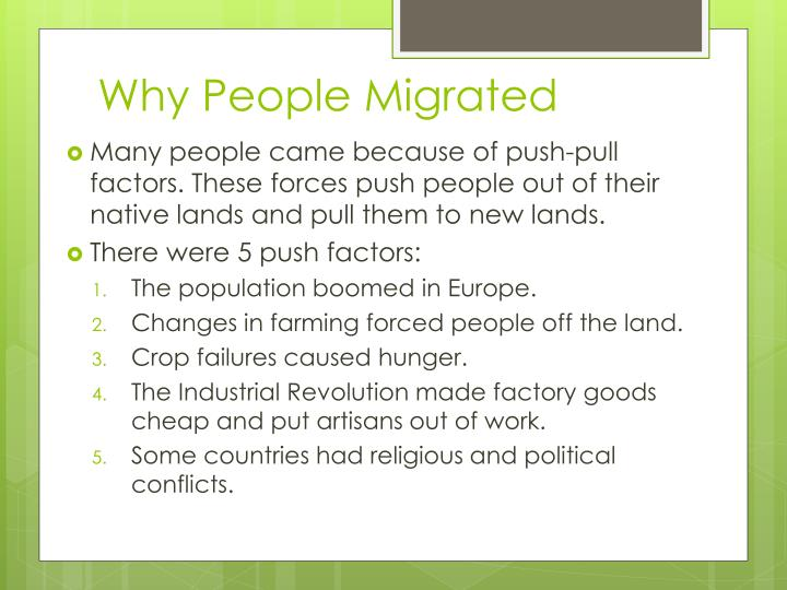 Why people migrated