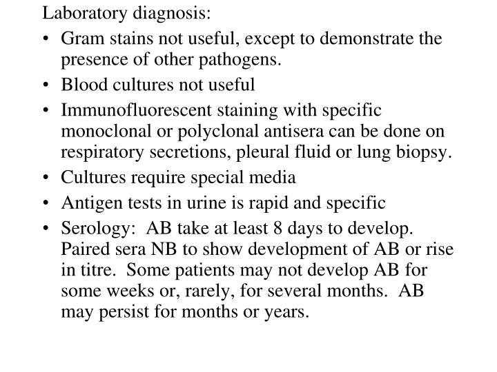 Laboratory diagnosis: