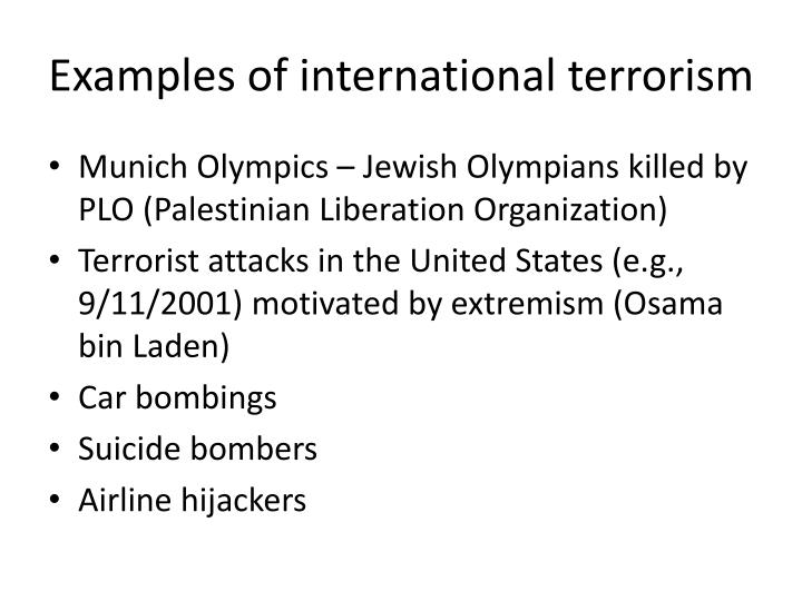 Examples of international terrorism