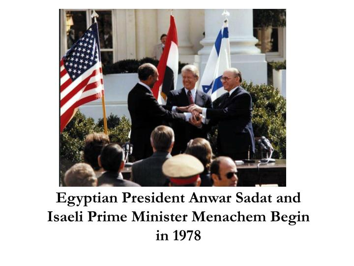 Egyptian President Anwar Sadat and Isaeli Prime Minister Menachem Begin in 1978