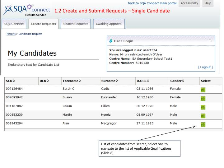 1.2 Create and Submit Requests – Single Candidate
