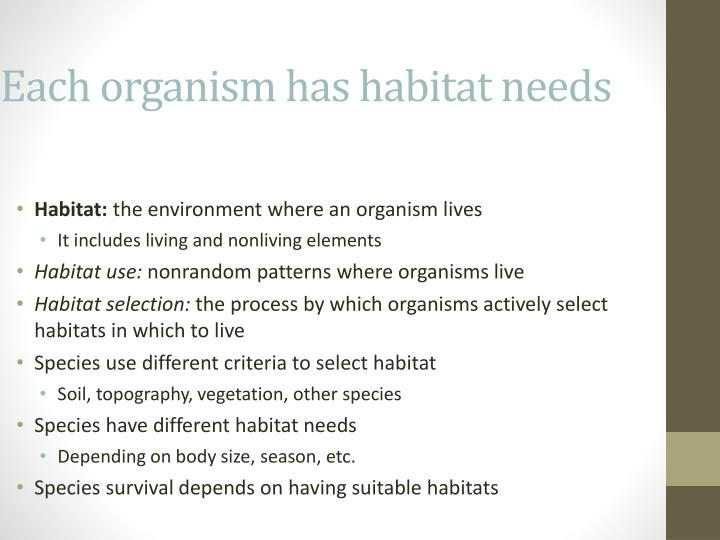 Each organism has habitat needs